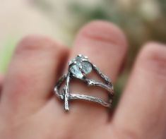 Rough Aquamarine gemstone branch ring raw uncut natural twig sterling silver statement handmade March Birthstone made to order () by aifosjewels