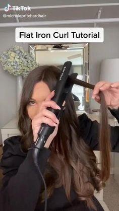 Hair Tutorials For Medium Hair, Curly Hair Tips, Medium Hair Styles, Short Hair Styles, Curl Hair Tutorials, Hair Curling Tips, Curl Hair With Straightener, Hair Curling Tutorial, Flat Iron Curls
