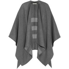 Burberry Shoes & Accessories Merino wool cape ($795) ❤ liked on Polyvore featuring outerwear, coats, cape, burberry, cardigans, grey, burberry cape and cape coat