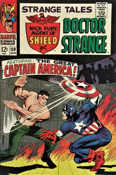 Strange Tales (Aug Marvel) GD/VG Steranko cover,art and story Cap! for sale online Marvel Comic Books, Comic Books Art, Comic Art, Marvel Characters, Silver Age Comics, Old Comics, Vintage Comics, Vintage Books, Jack Kirby