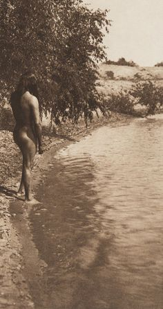 The Bather - Mandan (The North American Indian, v. V. Cambridge, MA: The University Press, 1909)     by Edward Sheriff Curtis from USC Digital Library, no name or location