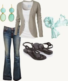 Casual Outfits | Grey and Blue Fat Face cardigan, J Brand jeans, Leatherette Sandals, Vineyard Vines scarf by fosterwf