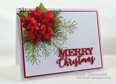 Poinsettia, Pine and Merry Christmas
