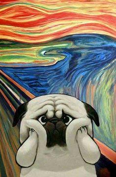 The scream 😱 Pug Cartoon, Pugs And Kisses, Cute Baby Dogs, Pug Art, Pug Pictures, Pug Puppies, Dog Illustration, Pug Love, Dog Memes
