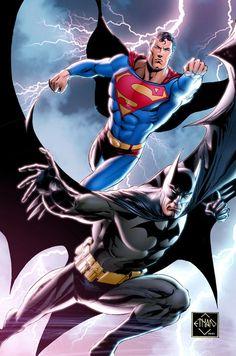 Superman and Batman in Color Comic Art