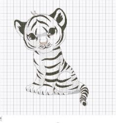 Embroidery Baby White Tiger Cub Chart, White Tiger Cross Stitch Graph, White Tiger Needlepoint Chart, PDF Digital Instant Download Files by FADesignCharts on Etsy