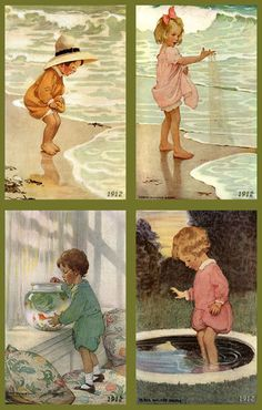 Olde America Antiques | Quilt Blocks | National Parks | Bozeman Montana : Jessie Willcox Smith - JWS Set 3 Children and Water
