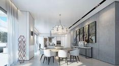 idée sur l'aménagement salle à manger en blanc et gris