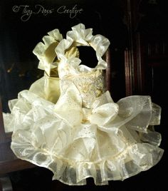 My baby TINKS new dresssssss ---- Dance With Me  Couture Formal Gold and White by tinypawscouture, $79.99