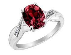 Garnet Ring with Diamonds 2.00 Carat (ctw) in Sterling Silver -
