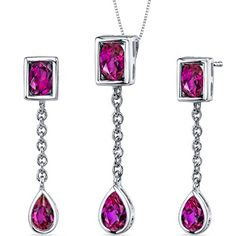 Created Ruby Pendant Earrings Necklace Sterling Silver Rhodium Nickel Finish Oval Pear Shape 2.25 Carats