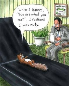 When I learned 'You are what you eat', I realized I was NUTS. Haha! Too funny!