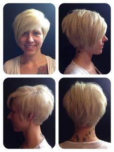 Blonde Bombshell! Love this short cut and colour!