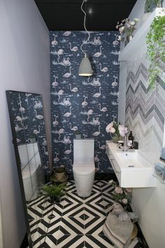 Grand Designs - The Lavatory Project - downstairs cloakroom/toilet Small Toilet Room, Guest Toilet, Quirky Bathroom, Bathroom Colors, Bathroom Ideas, Cloakroom Ideas, Bathroom Modern, Unusual Bathrooms, Family Bathroom