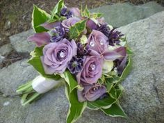 purple and green flowers bridal bouquet design by Julie Floyd of Creative Gardens, Lee, NH www.creativegardensnh.com