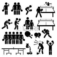 Table Tennis Player Actions Poses Stick Figure Pictogram Icons photo
