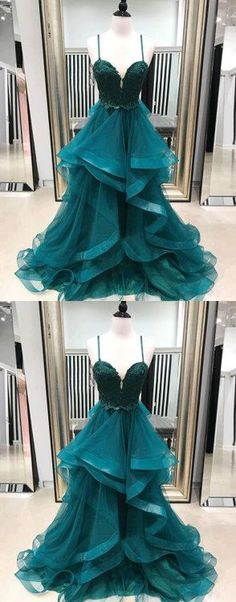 f185ddcf9554 Green Tulle Lace Long Prom Dress, Lace Evening Dress M6313