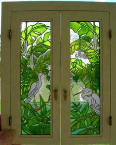 Doors for a Miniature House Stained Glass Door, Stained Glass Birds, Stained Glass Designs, Stained Glass Panels, Stained Glass Projects, Stained Glass Patterns, Window Art, Window Design, Mosaic Glass
