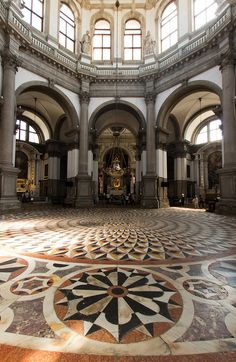 Inside the church of Santa Maria della Salute in Venice.