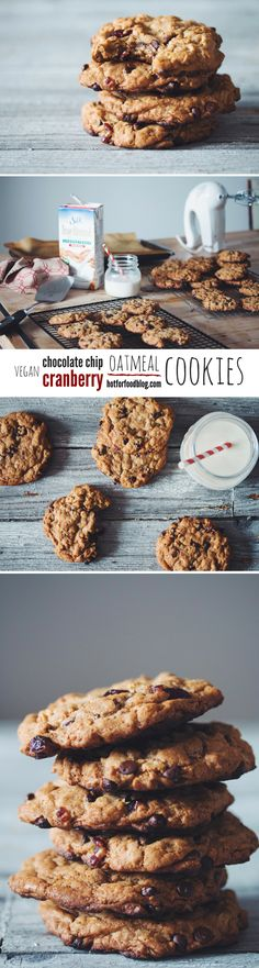 #vegan chocolate chip cranberry oatmeal cookies | RECIPE on hotforfoodblog.com