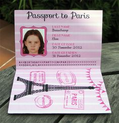 paris passport invitation | ... . Each girl can receive their own Passport complete with photo