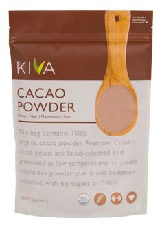 Kiva Raw Organic Cacao Powder (Unsweetened Cocoa - Dark Chocolate Powder) for sale online Heart Healthy Recipes, Gourmet Recipes, Healthy Foods, Healthy Eats, Organic Cacao Powder, Chocolate Powder, Cacao Chocolate, Organic Chocolate, Chocolate Pudding
