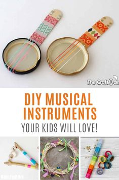 8 DIY Musical Instrument Crafts Your Kids Can Make and Play Loving these DIY musical instruments for kids!<br> Encourage your kids to be creative with these DIY musical instrument craft ideas! They can make them and then make music with them! Instrument Music, Homemade Musical Instruments, Making Musical Instruments, Music Activities For Kids, Music For Kids, Preschool Music Crafts, Group Activities, Diy Crafts For Kids, Projects For Kids