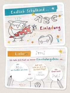Erster Schultag: Einladungskarten zur Einschulung / first day of school: invitation cards for school enrollment made by lina-art via DaWanda.com