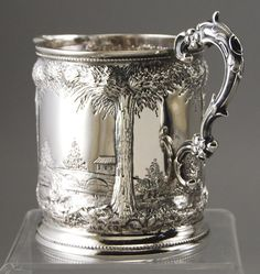 Antique Coin Silver, Repousse Pitcher, by William Ingalls Tenny. Silver Accessories, Silver Jewelry, Tarnished Silver, Sterling Silver, Vintage Silver, Antique Silver, Art Nouveau Furniture, Antique Glassware, Art Carved