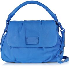 Marc by Marc Jacobs Electro Q Lil Ukita Electric Blue Leather Handbag ($428) ❤ liked on Polyvore featuring bags, handbags, shoulder bags, blue shoulder bag, leather purses, purse shoulder bag, handbags shoulder bags and leather handbags