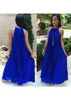 2017 New Women Royal Blue Pleated Tie Back Sleeveless Halter Neck A-line Bohemian Maxi Dress Fashion Trends 2018, Sexy Dresses, Fashion Dresses, Cheap Dresses, Blue Dresses, The Dress, Outfit, Party Dress, Prom Party