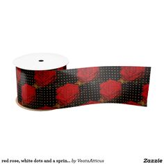 red rose, white dots and a sprinkle of gold dust satin ribbon