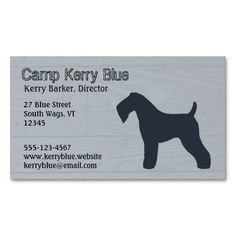 Kerry Blue Terrier Silhouette Business Card Template