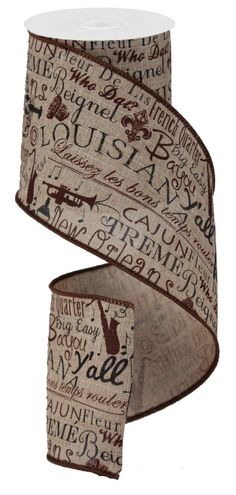 """4""""X10YD LOUISIANA CULTURE ROYAL BURLAP - #louisiana  #craigbachman #ribbon #culture"""