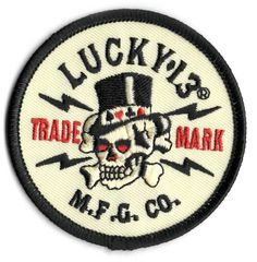 lucky 13 patch badge Old Topper Skull Tophat MFG Co. Biker Tattoos, Motorcycle Tattoos, Punk Goth, Rockabilly, Hot Rods, Badge, Patches, Skull, Racing