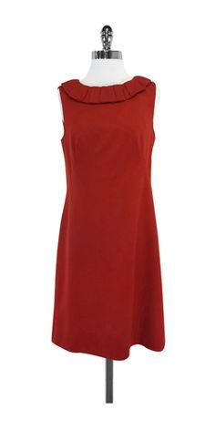 Badgley Mischka Brick Orange Wool Sleeveless Dress