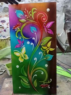 Glass Painting Designs, Paint Designs, Glass Door, Glass Art, Window Glass Design, Cute Krishna, Rose Art, New Art, Coloring