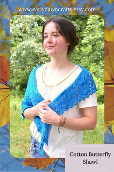 Beautiful crochet crescent shawl, perfect for any outfit or occasion! The cotton used to make this summer shawl is lightweight and soft. I crocheted this shawl using bands of solid stitching mingled with fluttering butterfly stitches. I call this shawl design the Beautiful Butterflies Shawl. You can wear this shawl with everything you like, in every season! Style it with a dress or jeans and a tee.