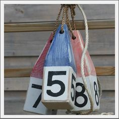 numbered wood buoys