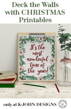 It's 'the Most Wonderful Time of the Year' Christmas printable! Deck your walls with affordable, instant holiday cheer with this and our other Christmas digital download art prints at KJohn Designs.