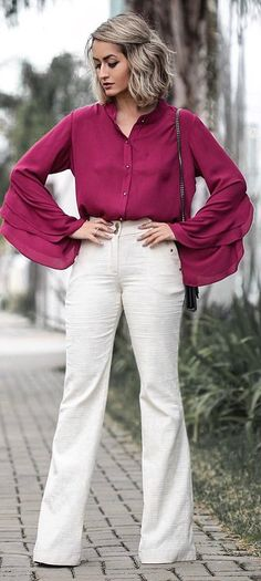 casual style perfection blouse   white pants