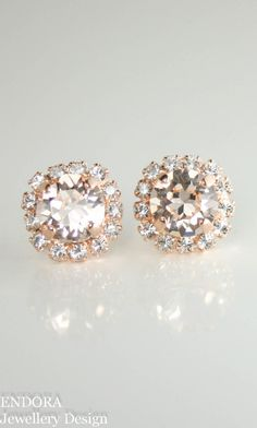 Swarovski bridal earrings |  Swarovski silk rose gold stud halo earrings | peach wedding | www.endorajewellery.etsy.com