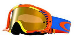 Oakley Crowbar MX Bio Hazard Goggles with Orange/Blue Print Frame (White Frame/Fire Iridium Lens) *** Continue to the product at the image link.