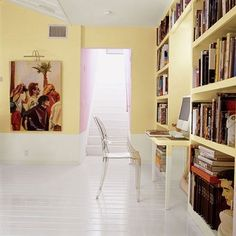 Office paint color ideas to turn your workspace around. Here are a few favorite hues to help decorate the home office. Explore more office decorating ideas and paint color ideas on Domino. Modern Flooring, Diy Flooring, Linoleum Flooring, Rubber Flooring, Parquet Flooring, Flooring Ideas, Living Room Vinyl, Office Paint Colors, Yellow Walls