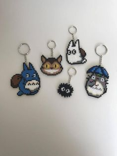 My Neighbor Totoro Bead Key Chain Anime Movies Collectibles Finders Key Chains Beads keychains by KandiQueenBeads on Etsy Pokemon Perler Beads, Perler Bead Templates, Diy Perler Beads, Perler Bead Art, Pearler Beads, Fuse Beads, Hama Beads Design, Hama Beads Patterns, Beading Patterns
