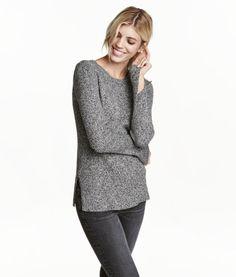 Ribbstickad tröja | Svart/Vit melerad | Dam | H&M SE
