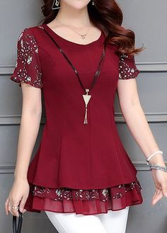 Round Neck Printed Layered Wine Red Blouse – Plus Size Fashion Casual Dresses, Short Dresses, Fashion Dresses, Red Blouses, Blouses For Women, Shirt Blouses, Sewing Clothes, Dress Patterns, Blouse Designs