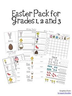 Easter+Activity+Pack+-+Grades+1,+2,+and+3Includes:flashcardsfind+the+correct+spellingpunctuation+-+full+stop+/+question+markaddingmultiplicationmore/less/equalreading+comprehensionunscramble+the+wordswordsearchI+spy+gameDice+gameSentence+writingTelling+the+timeand+more!!