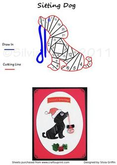 Sitting Dog  on Craftsuprint designed by Silvia Griffin - Made him with a Santa hat but can be a great pattern for the rest of the year. Place a party hat for a Birthday card -fishermen's hat for a male card and so on. - Now available for download!