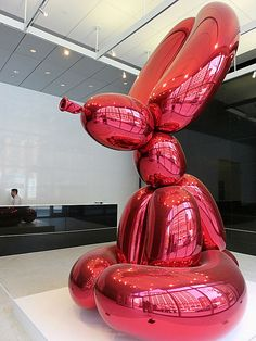 """""""Balloon Rabbit (Red),"""" polished stainless steel sculpture by Jeff Koons, at 51 Astor Place in New York City's East Village. What Is Sculpture, Steel Sculpture, Sculpture Art, Balloon Dog, Balloon Animals, Red Polish, Places In New York, Jeff Koons, Virtual Art"""